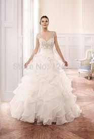 kleinfeld wedding dresses vestidos spaghetti straps v neck backless ruffles