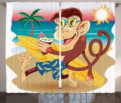 monkey curtains 2 panels set hipster holiday surf home decor ebay