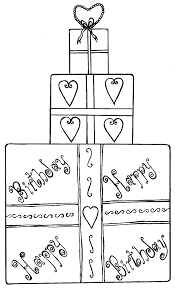 gift coloring page of a gift box for your birthday coloring