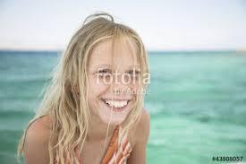 beautiful blonde natural portrait laugh sea