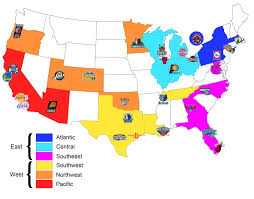 New Orleans On A Map by Here U0027s A Map I Made Of All Nba Teams Organised By Conference And