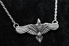 antique necklace silver images Antique silver flying raven huginn muninn pendant inventorybag jpg