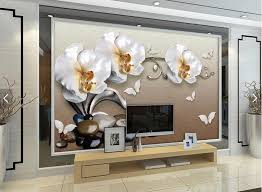 butterfly orchid floral 3d wall paper for living room contact