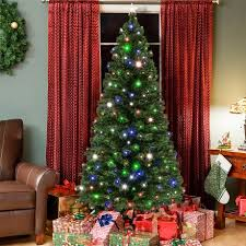 christmas tree with colored lights pre lit fiber optic 7 green artificial christmas tree with led