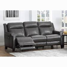 Powered Reclining Sofa Alex Grey Top Grain Leather Power Reclining Sofa With Power
