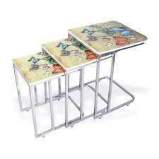C Shaped End Table Nesting Table Set With Printed Glass Top Hannah Concept