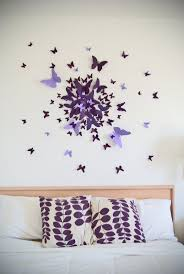 best 25 butterfly wall art ideas on pinterest 3d butterfly wall 3d butterfly wall art decal set of 70 in purple paper butterflies modern art nursery bedroom