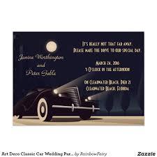 art deco classic car wedding party invitation car wedding party