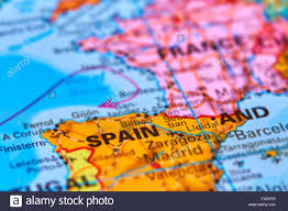 Spain Map World by Spain On The Iberian Peninsula Europe On The World Map Stock