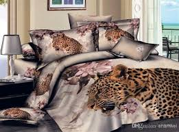 Leopard King Size Comforter Set Cool Animal Leopard Tiger Men Boys Bedding Set Printed Cotton