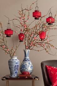 Vases Decor For Home Cherry Blossom Branches With Lanterns Great Chinese New Yr