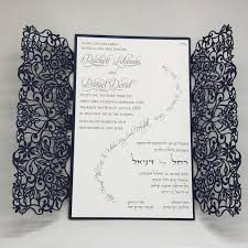 wedding invitations lace navy shimmer vines lace laser cut gatefold and white