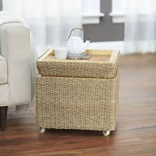 Wicker Storage Ottoman Coffee Table Rolling Seagrass Wicker Storage Ottoman