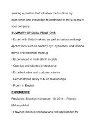 Example Artist Resume by Makeup Artist Resume