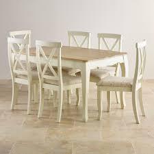 bella painted oak extending dining table 6 script beige chairs