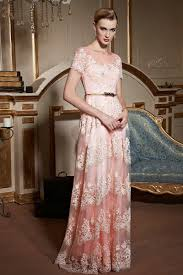 short sleeves coral lace prom dress with key hole back short
