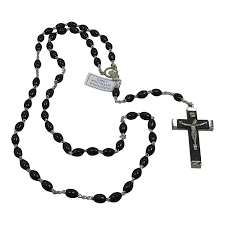 black rosary 1 x italian rosary with black silver cross and oval