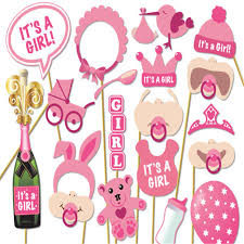 baby shower kits 17pcs set its a girl pink photo booth props photobooth diy kits on
