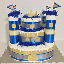 this unique royal diaper cake will make a perfect centerpiece to
