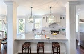kitchen island with columns white macaubas quartzite kitchen traditional with ceiling flush