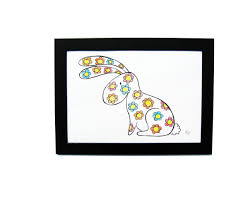 drawing handmade easter bunny colorful flowers art and cat