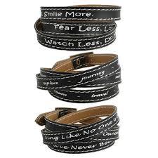 black leather wrap bracelet images Black leather inspirational quote wrap bracelet jpg