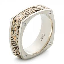 white gold wedding bands for men custom men s white gold and mokume wedding band 102346
