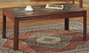 walnut coffee table 3pc set w patterned tile tops