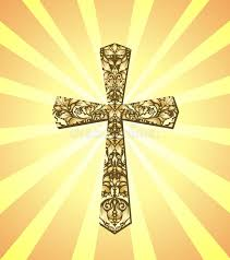 vintage christian cross and sun rays stock vector illustration