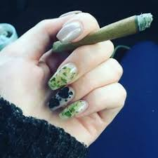 weed nails is the craziest nail trend of the moment weed nails