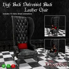 Leather High Back Armchair Second Life Marketplace High Back Distressed Black Leather Chair