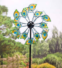 glass peacock solar wind spinner decorative garden accents