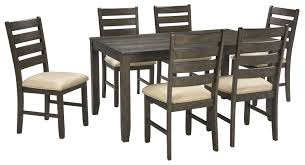 signature design by ashley rokane brown 7 piece dining room table rokane brown 7 piece dining room table set