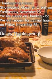 lighting on thanksgiving hours showrooms at 2