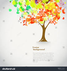 vector watercolor autumn tree spray paint stock vector 151644284