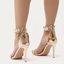 public desire fiji diamante barely there stilettos in rose gold in