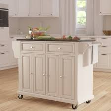 kitchen island cart granite top darby home co pottstown kitchen island with granite top reviews