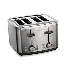 Under Cabinet 4 Slice Toaster Calphalon Brushed Stainless Steel 4 Slice Toaster Bed Bath U0026 Beyond
