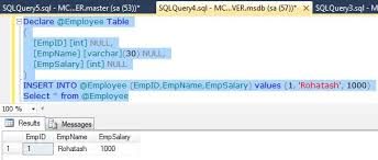Sql Declare Temp Table Creating Various Types Of Tables In Sql Server 2012