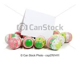 blank easter eggs decorated easter eggs on white with a blank notecard a row stock