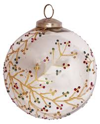 glass bauble hanging in silver color with colorful glittery work