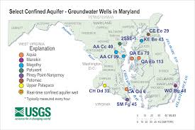 Map Of Md Confined Aquifer Wells Water Table Wells Usgs Water Resources Of