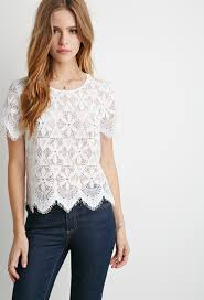 forever 21 white blouse lyst forever 21 embroidered eyelash lace top in white