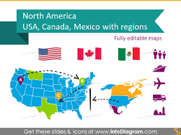 map for usa and canada editable maps icons usa canada mexico america continent ppt
