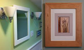 picture frame medicine cabinet concealed cherry medicine cabinet with mirror or solid door or