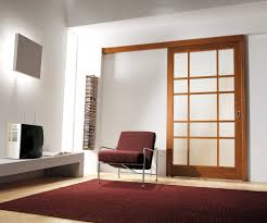 interior cool home interior design with single white sliding door