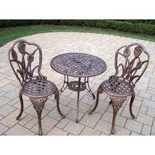 Best Price Cast Aluminum Patio Furniture - cast aluminum brown bistro set with ice bucket hayneedle