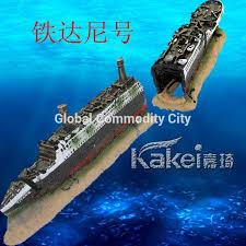 fish tank aquarium decoration mini titanic wooden boat aquarium