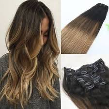 ombre clip in hair extensions ombre balayage human hair weave bundles clip in human hair