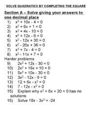 solving quadratic equations worksheets worksheets